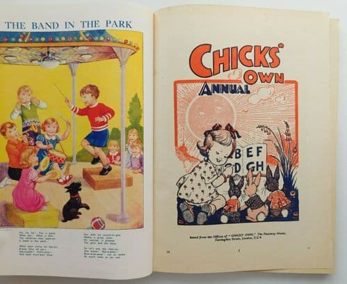 Vintage 1953 Chicks Own Annual old 1950s childrens book stories cartoons puzzles